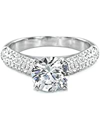 Luxurious 925 Sterling Silver CZ Engagement Ring - 925 Sterling Silver CZ Rings for Women