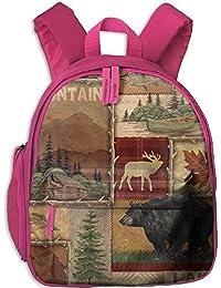 Rustic Lodge Bear Moose Double Zipper Waterproof Children Schoolbag with Front Pockets For Kids Boys Girls