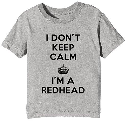 I Dont Keep Calm Im A Redhead Kinder Unisex Jungen Mädchen T-Shirt Rundhals Grau Kurzarm Größe XL Kids Boys Girls Grey X-Large Size XL