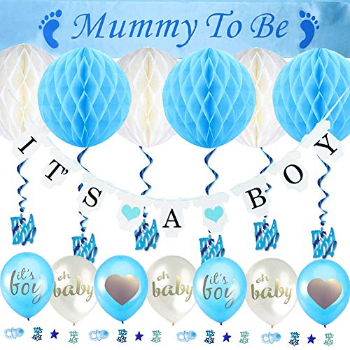 Sunshine smile Babyparty Deko Mädchen und Junge, with a Mummy to be Sash, a It's A Girl Banner, 6pcs Honeycomb Balls, It's A Girl Hanging Swirls Decorations,5pcs Balloons and Baby Shower Confetti (Jungen Für Einen Babyparty-deko)