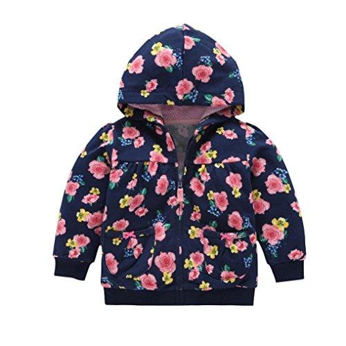 y Jungen Mädchen Blumen-Druck Hoodie Sweatjacke Sweatshirts mit Kapuze Unisex Baby Jacke Reißverschluss Kapuzenjacke Kapuzenpullover Mantel(0-24Monate) (90CM 12Monate, Dark blue) (Land Mädchen Jacken)
