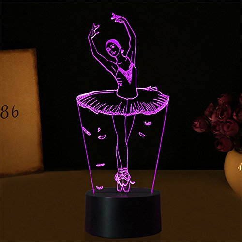 3D Illusion Lampe Ballett Mädchen LED USB 3D Nachtlichter 7 Farben Blinkende Neuheit LED Tischlampe Kinder Nachttischdekoration -