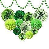 Supkeyer - Pompones de papel de seda verde para fiestas de cumpleaños de dinosaurio