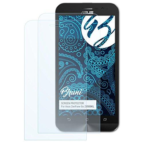 Bruni Schutzfolie für Asus ZenFone Go ZB500KL Folie, glasklare Bildschirmschutzfolie (2X)