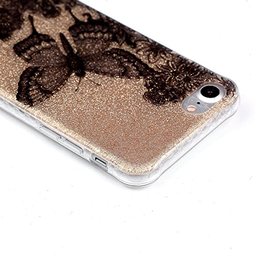Coque iPhone 7, Cozy Hut® [ Anti-Scratch] Ultra Mince Premium TPU silicone Case [Bling Crystal] ** Eclatant et Brillant ** Glitter Crystal Quartz / Bumper-Style / Anti-choc / Adherence exacte / Sans E papillon noir