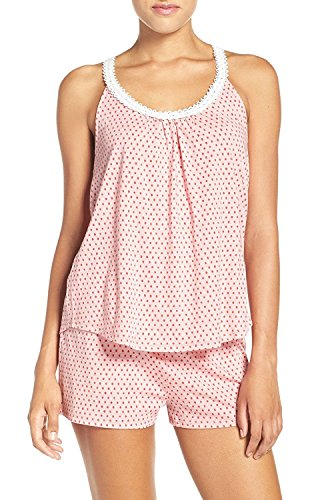 Lucky Brand Women's Lace-Trimmed Racerback Top and Shorts Pajama Set (X-Large, Pink Heather Dots)