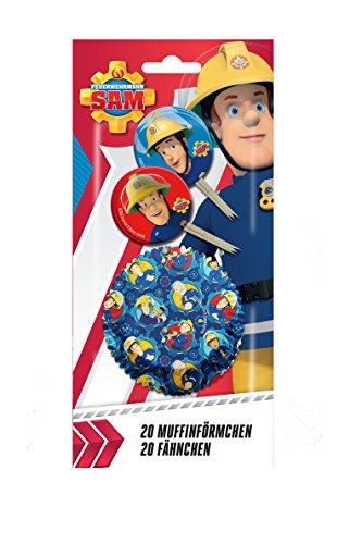 feuerwehrmann sam party Feuerwehrmann Sam 40 teiliges Muffin Backset mit Fähnchen und Muffinförmchen