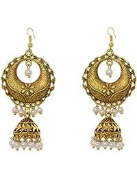 Sansar India Beaded Gold Plated Long Chandbali Jhumka Jhumkas Jhumki Indian Earrings Jewelry For Girls And Women