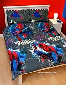 Parure de lit housse de couette double 200x200 cm 2 taies Spiderman