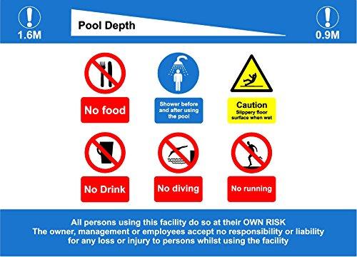Schwimmbad Regeln und tiefen Schild-Kein Tauchen, kein Verlaufen, nicht essen, nicht Trinken, Dusche vor und nach der Verwendung der Pool und Boden Slippery When Wet. Wenn Ihre Pool Tiefen unterscheiden sich von gezeigt, Bitte geben Sie Ihre eigenen Schwimmbad Tiefen in den Kommentaren Abschnitt auf Kasse Schild-1,2mm starrer Kunststoff 300mm x 200mm x 200mm