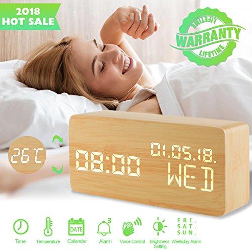 Reloj Digital Madera, Despertador de Madera Comando de voz Relojes Despertador LED Cubo 3 Niveles Brillo 3 Despertadors USB Pantalla Hora Fecha Semana Temperatura para el Dormitorio Oficina Inicio