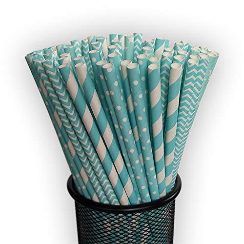 EDHVODI Trinkhalm FDA LFGB FSC Papier Strohhalme biologisch abbaubar 200Pcs Stroh, Blaue Serie