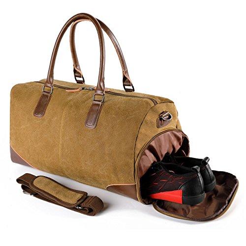 Reisetasche mit Schuhfach Sporttasche Weekender Canvas Vintage Handgepäck für Herren Damen Leder Segeltuch Tasche von Fresion (51x25x28 cm Kaffee)