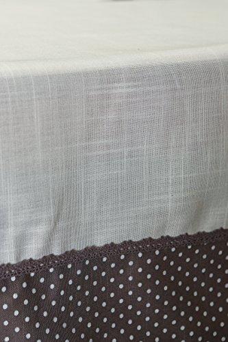 HOME ESSENTIEL Home Esencial 02601 Coco-Mantel, Color Blanco con Bordes, diseño de Lunares, Color Gris, Color Blanco, poliéster y Tela, 150 x 260 cm