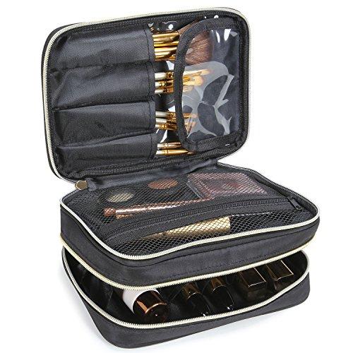 Lifewit Kosmetikkoffer Kosmetiktasche mit verstellbaren Trennern Reisetasche Makeup Tasche mit Bürstenhalter, Schwarz (6)