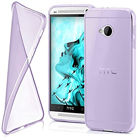 HTC One M7 Hülle Silikon Transparent Lila [OneFlow Clear Back-Cover] TPU Schutzhülle Dünn Handyhülle für HTC One M7 Case Ultra-Slim Silikonhülle