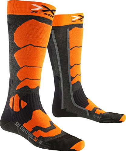 X-Socks Herren Socken SKI CONTROL 2.0, Anthracite/Orange, 45/47, X100090