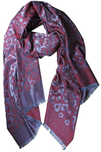 FERETI Seidentuch Damen Rot einfarbig Leopard muster Dunkelrot grau umschlagetuch schal … (Seide Cardigan Cashmere Wrap Und)