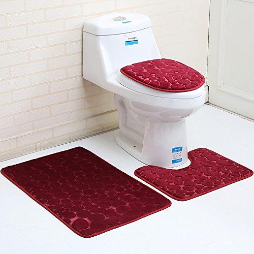 3pcs/2pcs scendibagno in memory foam, tessuto di velluto antiscivolo della toilette tappeto set per wc bagno, wine red, 3pcs set