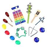 TOYMYTOY Set di strumenti musicali in legno Set per bambini con percussione di ritmo con borsa per il trasporto 15 pezzi