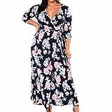 YunYoud Damen Große Größe Kleider Blumen gedruckt PartyKleid Reizvoller V-Ausschnitt Langes Kleid Damen Beiläufig Lose Maxikleid Lange Ärmel Strandkleid (XXXL, Blau)
