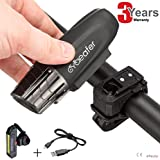 Cycleafer [ USB Rechargeable Bicycle Light Set ] Front & Tail Back - CE Powerful LED Lumens - Water Resistant IPX5 - Easy to Install - 4 lights Modes - UP to 8h Lighting Time on Fully Charged Battery [ 3 Years Warranty ]