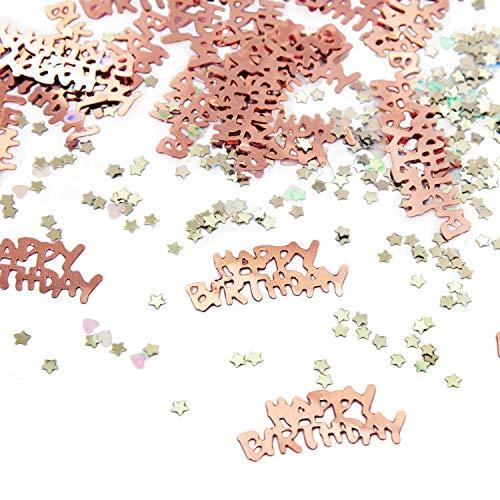 Oblique Unique® Konfetti Set 500 STK. Happy Birthday + Sterne + Herzen - Tisch Deko für Geburtstag Party Kindergeburtstag in Roségold (Birthday Party Happy)