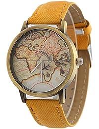 Retro Causal Mapa del Mundo Reloj Imitation Denim Correa de Cuero PU Cuarzo Hombres Mujer Chico