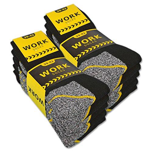 sockenkauf24 Herren Arbeitssocken Baumwolle WORK (10 Paar 43-46 Schw/Grau Meliert)
