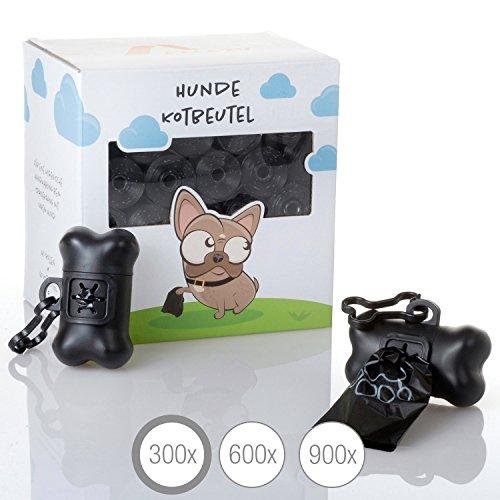 Amazy Hundekotbeutel Inklusive 2 Beutelspender - Extra reißfeste und auslaufsichere Hunde Kotbeutel mit frischem Zitronenduft, biologisch abbaubar (300 Stück | 20 Rollen)