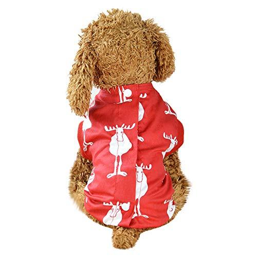 QinMM Haustier-Weihnachtskleidung, Hundekatze-Rotwild-Druck-Kleidungs-Knöpfe Weste Haustier-Kleidungsstück weich und bequemes Gewebe XS-XL
