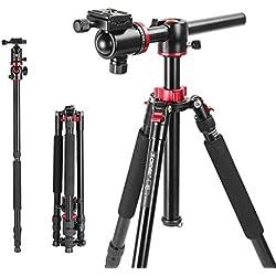 ZOMEi M8 Trépied et Monopied Professionnel Alliage D'Aluminium avec 360 Degrés Panoramique de Tête Rotule pour Caméras Canon Sony Nikon DSLR Hauteur Maximale 192cm