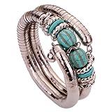 Joyería de la vendimia de plata tibetana Yazilind Twisted 2 Layer Ajustable Rimous Verde Turquesa Brazo brazalete pulsera para la Mujer