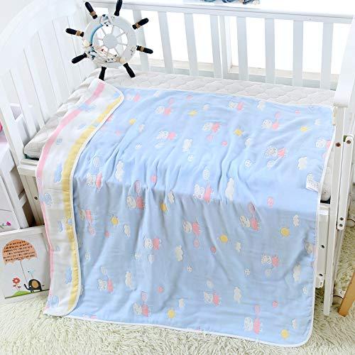 Baby-Badetuch Vier Schichten Baumwolle 90 X 100Cm Säuglinge Und Kleine Kinder Von Baumwolle Absorbierenwasser Nicht Fluoreszierende Mehrschichtige Gaze-Abdeckung Ist 90X100 Peggy Blue - Gaze-abdeckung