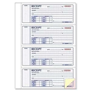 Billets reçus, 2, 3, 4, 7, Papier autocopiant triple exemplaire, 200 Sets/livre