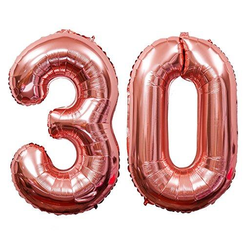 Meowoo Helium Luftballon 30 Geburtstag 40 Zoll Folienballon Zahl 30 Geburtstag Party Dekoration Supplies (Rose-Gold)