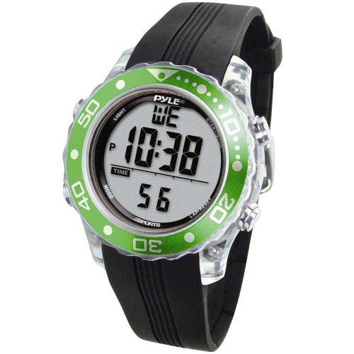 Pyle Schnorchel und Tauch Multifunktions Wassersport-Uhr mit Tauchmodus Chronograph Tauchtiefe, Grün, PSNKW30GN