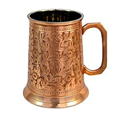 Copper : Copper German Beer Stein - Handcrafted Copper Antique Large Beer Stein Mug, Best Copper Tankard Mug Gift For Beer Or Moscow Mule Lover - Capacity 20 OZ by Alchemade