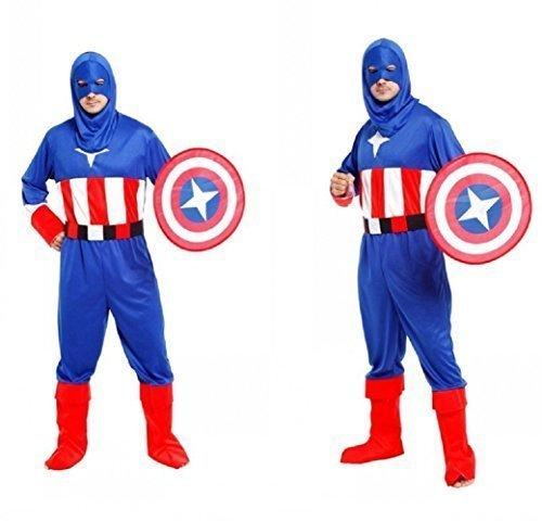 America Erwachsene GroßE Und Halloween Karneval-Maskerade (PrüFen Massnahmen GrÖSse Zentimetern) Captain America Erwachsenen- Hllw (Captain America-mann-kostüm)