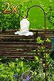 Gartenkugel Tulpe Tropfen, Blume mit Hakenhalter Schäferstab WINTERFEST & ROBUST Glas-Dekoration Blüte Gartentulpe Glocke Rosenkugel 17 cm gross Form Tulpe 125cm Höhe mit Schäferstab -Tulpenform wei