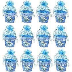 12 bolsa de caramelos, bolsitas de bautizo niño, Cajitas para Regalos del Caramelo de Boda,Bautizo,Comuion,Fiesta-Coche Paragua