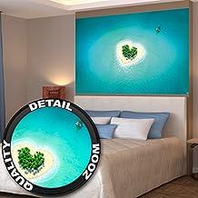 Isla con forma de corazón en agua cristalina Island Love fotomural mural de XXL póster decoración de pared by GREAT ART (140 x 100 cm)