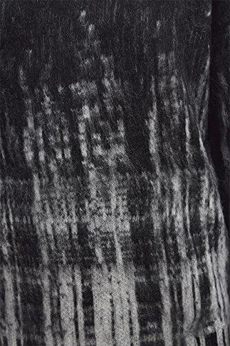 QED - Robe en maille femme - Au-dessus du genou & col bateau - Carreaux Dégradés - Noir & Blanc Noir & Blanc