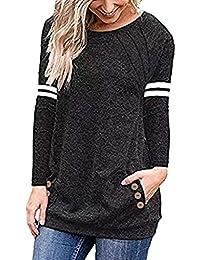 9e142411f04fe Vectry Camisetas Manga Larga Camiseta Mujer Primavera Camisetas  Adolescentes Chicas Camisetas con Dibujos Originales Blusa Elegante