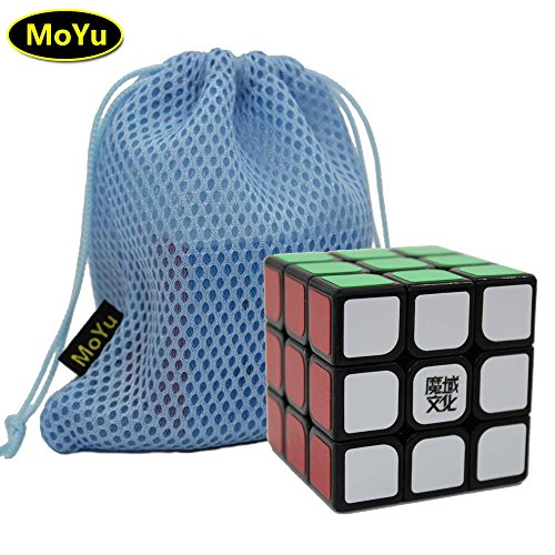 moyu WEILONG V2 3x3 3 Layers Magic Cube Speed Puzzle Cube Black + One Cube Bag weilong v2 3x3 3 strati cubo magico velocità puzzle cubo nero + una borsa cubo