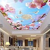 ShAH Wallpaper Warme Frische Schöne Blumen Taube Blauen Himmel Decke Decke Fresken 3D Tapete Hintergrundbild Wallpaper Wandmalerei Fresko Mural 200cmX150cm