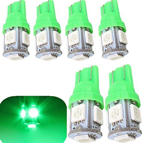 WLJH T10 168 ampoule LED 5050-5smd 194 2825 157 de remplacement de voiture Intérieur dôme Tableau de bord ampoules de lampe de courtoisie de plaque d'immatriculation (Vert, 6)
