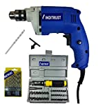 #8: Inditrust 450W electric drill machine with 13pc HSS drill set, 10mm masonry bit and 41 pc tool kit screwdriver and socket set, color may vary, chuck size - 10mm