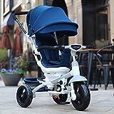 DACHUI Kinder Dreirad, Fahrrad, Katze, Baby, Fahrrad, Kinderwagen, Sitz 360 Grad (Farbe: Dunkelblau gedreht werden kann)