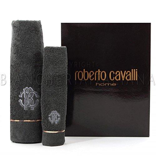 ROBERTO CAVALLI HOME COPPIA ASCIUGAMANI BASIC COLORE DARK GREY